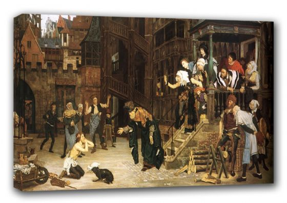 Tissot, James Jacques Joseph: The Return of the Prodigal Son. Religious Fine Art Canvas. Sizes: A3/A2/A1 (00137)